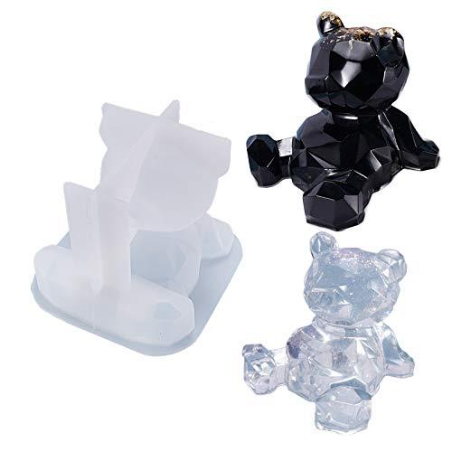 Moldes de resina de oso de peluche 3D, soporte de teléfono móvil, molde de resina epoxi, soporte de teléfono celular, moldes de fundición de silicona, espejo geométrico, adorno de bricolaje