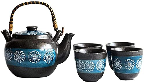 BaiJaC Teapot Japanese, Tea Set Flower Pattern Glaze Teapot with Handle and Tea Cups Set Service for 4 Adult Beautifully Packaged in Gift Box Ceramic Tea Sets