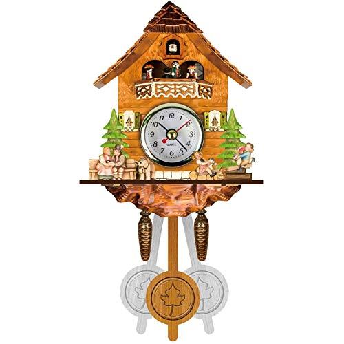BCBKD Reloj De Pared De Cuco De La Selva Negra Alemana Estilo Nórdico De Madera Reloj De Cuco Antiguo Auto Swing Bell Péndulo Decoración del Hogar Regalo para Niños Relojes De Alarma A,14x6x26CM