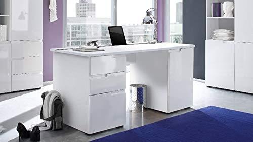 Stella Trading Schreibtisch Weiß Hochglanz, BxHxT 158 x 76 x 67 cm