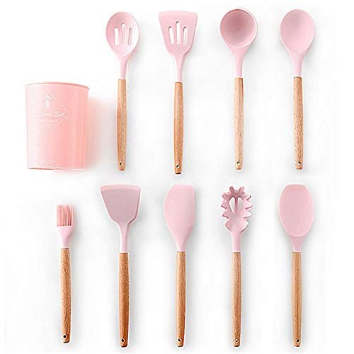 Silicone Kitchen Tools Cooking Sets Soup Spoon Spatula Non-Stick Shovel With Wooden Handle Special Heat-Resistant Design,Pink-10Pcs-B