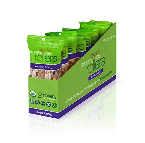 Crunchy Rice Rollers - Organic Snacks - Gluten Free - Allergy Friendly - Mixed Berry (8 Packs of 2 Rollers)