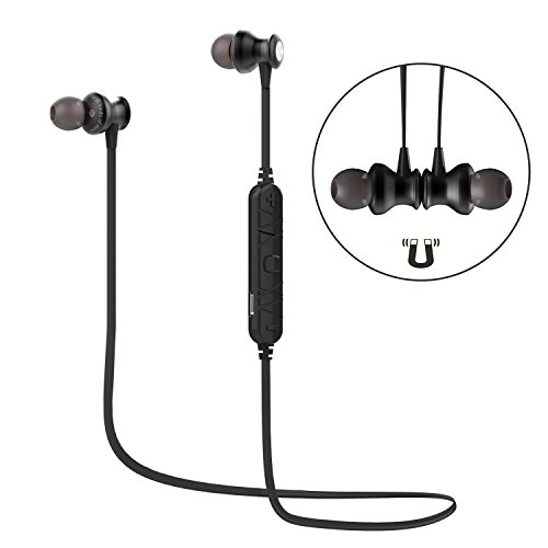 Wireless Sports Earphones for Call and Music,Bluetooth 4.1 Bluetooth Earbuds with Superior Audio Performance Built-in Magnet Microphone Headset (BLACK)