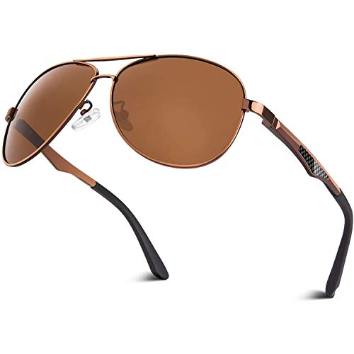 CGID Sonnenbrille Herren Pilotenbrille Polarisiert Piloten Polarisierte Sonnenbrillen Männer Pilot Unisex Prämie Al MG Metall Rahmen Braun Braun Uv Schutz 400 UV400,GA61, Cat.3, CE