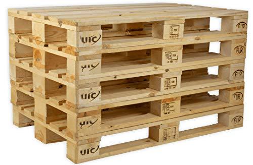 Jalouza IPPC Europalette NEU - 5 Paletten aus Vollholz - Holzpaletten Maße: 120x80 cm - Fabrikneu
