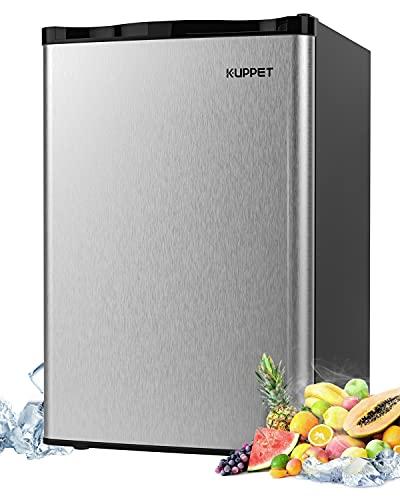 KUPPET Mini Refrigerator Compact Refrigerator-Small Drink Food Storage Machine for Dorm, Garage, Camper, Basement or Office, Single Door Mini Fridge, 4.5 Cu.Ft,stainless steel