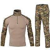 Yuandian Uomo Tattico Camouflage Uniformi 2 Pezzi Set Outdoor Militare Combat Esercito Caccia Pantaloni Traspirante Manica Lunga Zipper Collar T Shirt Maglietta Abbigliamento Mimetico MC Camo 2XL