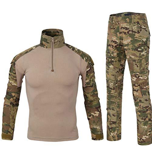 Yuandian Uomo Tattico Camouflage Uniformi 2 Pezzi Set Outdoor Militare Combat Esercito Caccia Pantaloni Traspirante Manica Lunga Zipper Collar T Shirt Maglietta Abbigliamento Mimetico MC Camo S