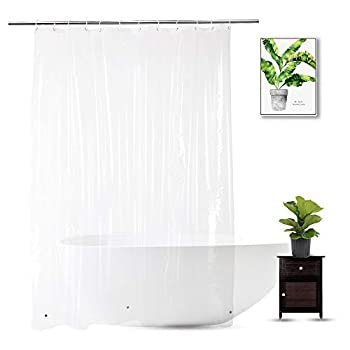 WellColor Clear Shower Curtain Liner 72 x 75 inch PEVA Heavy Duty Shower Liner with 3 Weighted Magnets Transparent 100% Waterproof