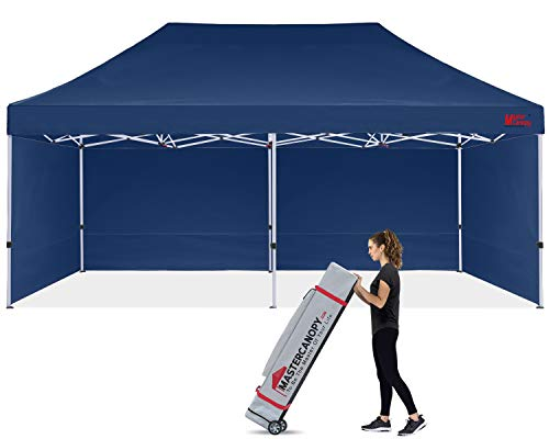 MASTERCANOPY Durable Pop-up Canopy Tent 10x20 Heavy Duty Instant Canopy with Sidewalls (Navy Blue)
