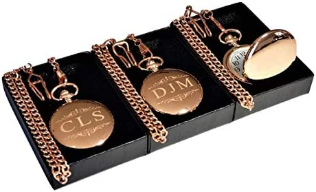 Personalized Pocket watch set of 3 Custom engraved wedding or Best Man gift chains engraving product image