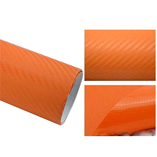 Bosses 127cmx10/20cm 3D Carbon Fiber Vinyl Car Wrap Sheet Roll Film Car Sticker Motorcycle Decals Car Styling Interior Accessories Car decoration (Color Name : Orange, Size : 127x10cm)
