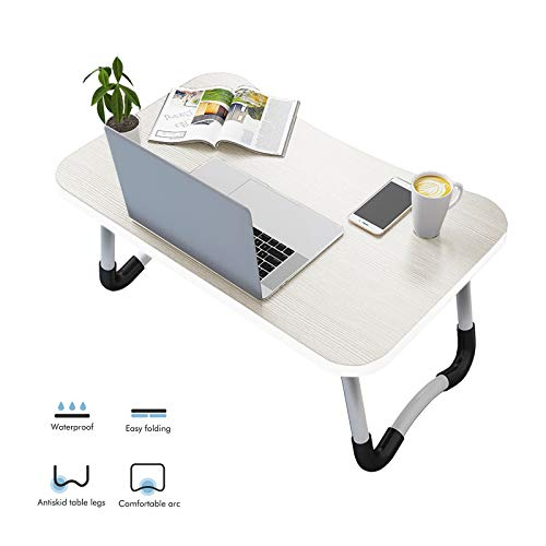 Vasen Tavolino da Letto Colazione Pieghevole Tavolo Letto Regolabile e Portatile per Laptop Pc Supporto Notebook Computer Tablet 70x40x28cm (Bianco)