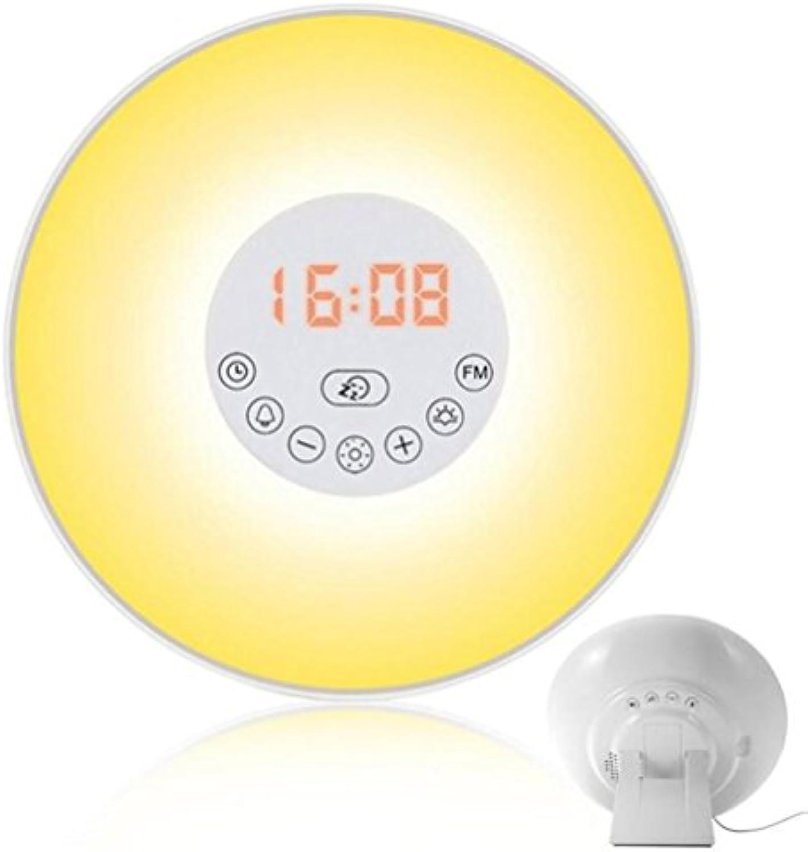 ELEGENCE-Z Wake-Up Licht Wecker Nachtlicht Multi Licht Modi Sonnenaufgang Sonnenuntergang Simulation 6 Natural Sounds FM Radio Weihnachten Urlaub high-end Geschenke