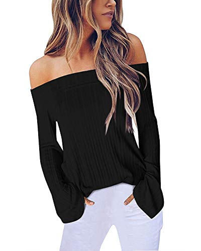 ACHIOOWA Mujer Suéter de Camisetas Manga Larga Tops de Hombros Descubiertos Sexy Otoño Invierno Camisas Moda Blusas Nuevo 999418-Negro XXL