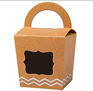 [50pcs] ONE MORE Single Mini Cupcake Boxes Individual with Handle and PVC Window,Disposable Kraft Paper Cupcake Holders (Brown, 50)