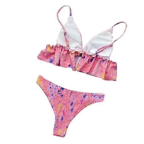 Makalon Damen Sexy Mode Badebekleidung Drucken Abnehmbarer Push Up Sport Dreieck Bikini Einstellen Mädchen Stilvoll Elegant Frauen Rückenfrei Rüschen Zwei Stück Komfortabler Badeanzug