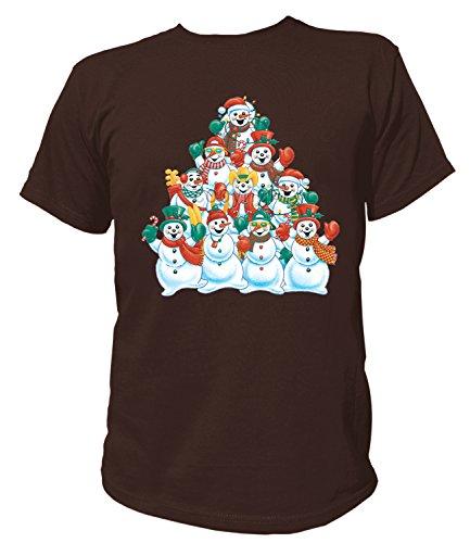 Artdiktat Herren T-Shirt - SNOWMAN PYRAMID Größe XXL, braun