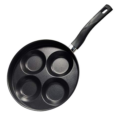 """Keadeso Egg Frying Pan 4 Cup Mold, 9.5"""" Non-Stick Iron Egg Cooker Rings, Round Omelet Burger Pancake Pan, Gas Stove and Induction Hob Compatible for Breakfast Home Cooking"""