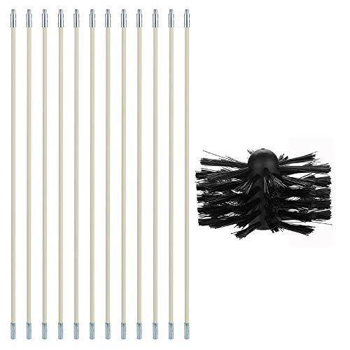 Festnight Kit d'outils de nettoyage de conduits de dessiccateur de brosse en nylon pour chaudière de cheminée