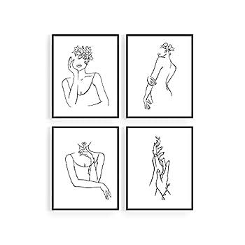 HAUS AND HUES Minimalist Line Art Wall Decor Set of 4 Minimalist Wall Art Female Poster | Line Drawing Wall Art Women Body | Line Drawing Print | Sketch Poster  8 x10  UNFRAMED