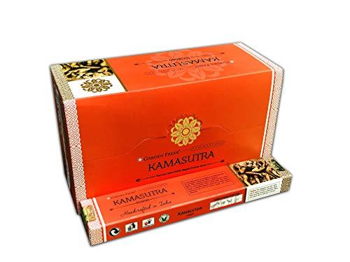 Garden Fresh - Varitas de Incienso Kamasutra (180 Gramos, 12 Paquetes de 15 Gramos Cada uno en una Caja, Varillas de Incienso Natural enrolladas a Mano)