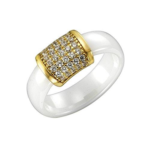 Jacques Lemans Damen Ring 925/- Sterling Silber vergoldet mit Keramik und Zirkonia 925/- Sterling Silber Glänzend Zirkonia weiß 490270023