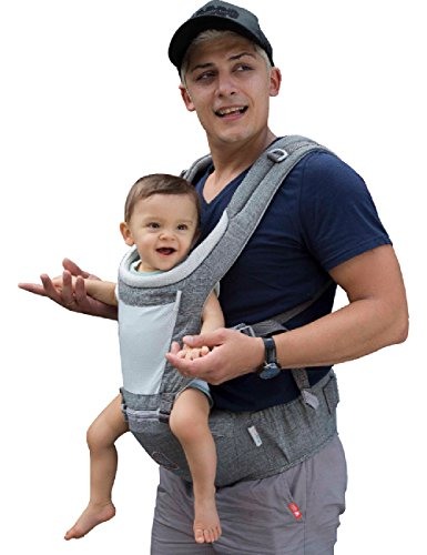 Dada Hip seat Baby Carrier, Unisex Grey, Backpack Carrier, All Season mesh Light