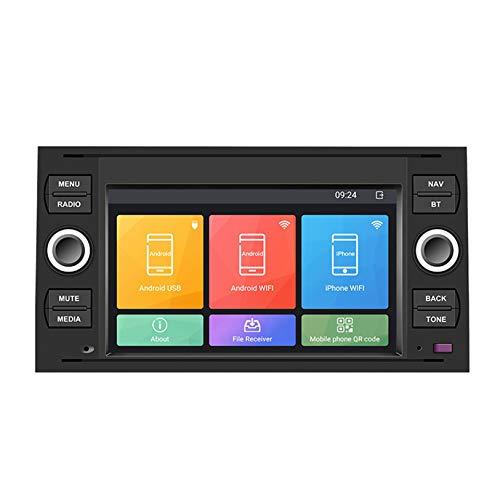 7 pulgadas Android 10 Auto Estéreo Radio Navegacion GPS Cabeza Unidad Capacitivo Tocar Pantalla Bluetooth Teléfono Control SWC para FORD Mondeo Fusion Kuga S/C-Max Multimedia Jugador
