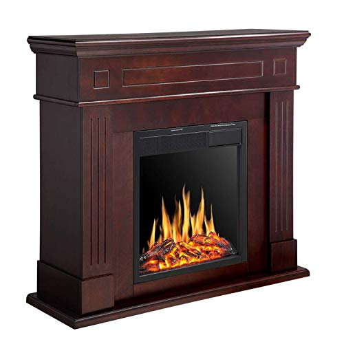 R.W.FLAME Electric Fireplace Mantel Wooden Surround Firebox, Freestanding Corner Fireplace, Home Space Heather, Adjustable Led Flame, Remote Control,750W/1500W, Brown Décor Dining electric Features Fireplaces Home Kitchen