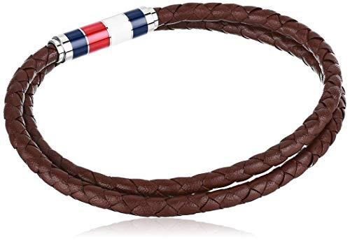 Tommy Hilfiger Herren-Armband, Leder, doppelt gewickelt, Braun (Modell: 2790055)