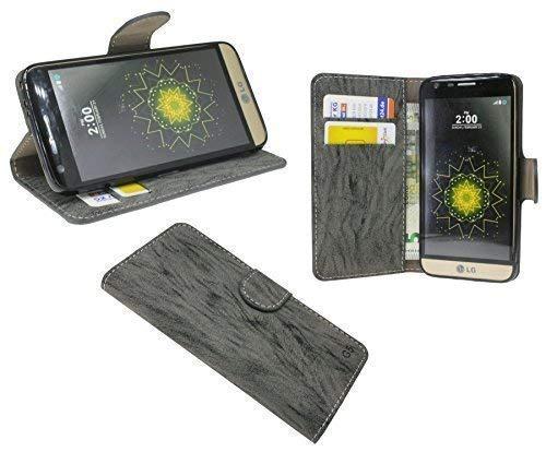 ENERGMiX Buchtasche kompatibel mit LG G5 Hülle Case Tasche Wallet BookStyle mit Standfunktion in Anthrazit