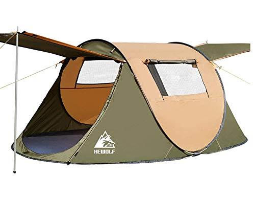 HEWOLF Wurfzelt 2-3 Personen Pop Up Camping Zelt Automatische Ultraleichtes Familienzelt Sekundenzelt Sonnenschutz Cabana für Outdoor Camping Festival, Großes Braun