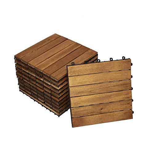 SAM Terrassen- Holzfliese 01, Akazie FSC® 100%, 11 Klick-Fliesen für 1m², 30x30cm, Garten- Bodenbelag mit Drainage