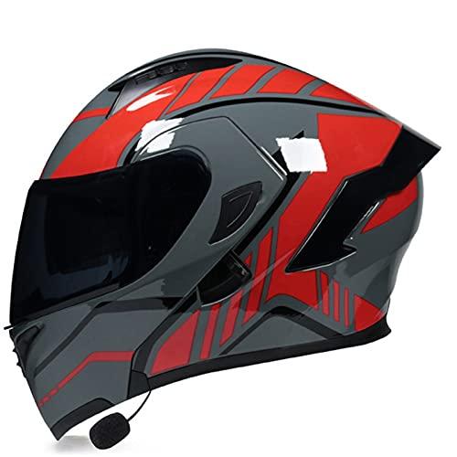 Casco Moto Integral Modular Con Bluetooth Integrado ECE Homologado Con Doble Visera, Casco De Motocicleta Para Hombre Y Mujer Adultos Casco De Protección Para Ciclomotor Scooter E,L