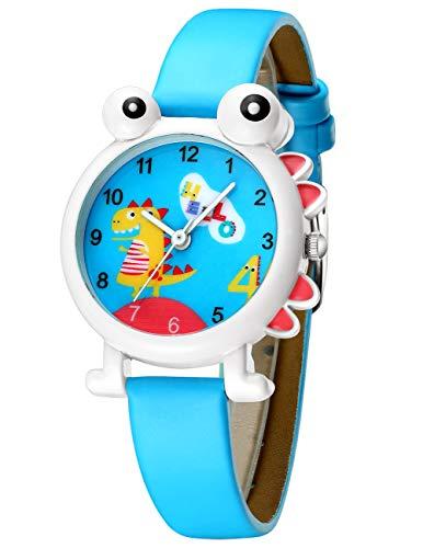 Relojes Niños Reloj de Pulsera Dibujos Animados Lindos Deportivo Analógico Impermeable Azul Tiempo Negro Enseñar Relojes de Cuarzo de Cuero para Niños Niñas Chicas