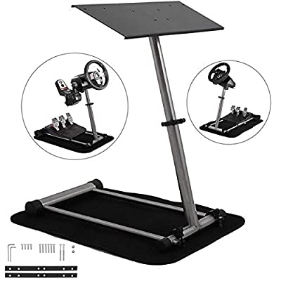 Mophorn Racing Steering Wheel Stand 360 Degree Stepless Adjustable fit for Logitech G25 G27 G29 G920 fit for Thrustmaster Racing Simulator Steering Wheel Stand Frame Video Game Racing Wheel Stand