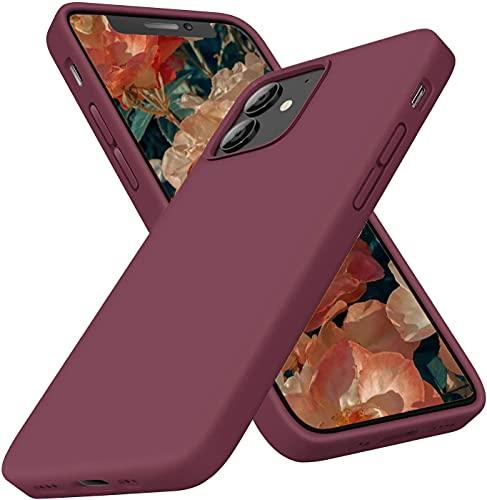 """Goodvish Silicone Custodia Cover Compatibile con iPhone 12 Mini Case (5.4""""), Tutto Corpo Protettiva Morbido Custodia, Cover Antiurto con Fodera in Microfibra,Vino Rosso"""