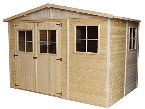 TIMBELA Holz Gartenschuppen MIT IMPRÄGNIERTEM Boden - Abstellkammer mit Fenstern - H226x318x220 cm/6 m² Naturholz-Shiplap-Schuppen - Gartenwerkstatt - Fahrrad- Geräteschuppen M334+334G