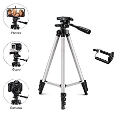 Tygot Adjustable Aluminium Alloy Tripod Stand Holder for Mobile Phones & Cameras, 360 mm -1050 mm, 1/4 inch Screw Metal Body + Mobile Holder Bracket (Silver and Black),Tygot