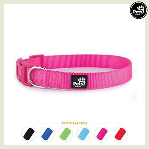 Pets&Partner® Hundehalsband aus Nylon, Halsband mit Kunststoffschnalle in verschiedenen Farben für kleine bis große Hunde M, Pink