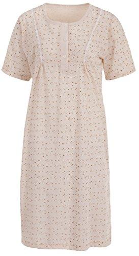 Zeitlos Lucky Nachthemd Damen Kurzarm Schmetterling Spitze Knöpfe, Größe:2XL, Farbe:beige