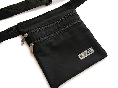 Riñonera negra de tela, riñonera hombre hecha a mano, bolso de cadera mujer, bolso bandolera, riñonera mujer con bolsillos,