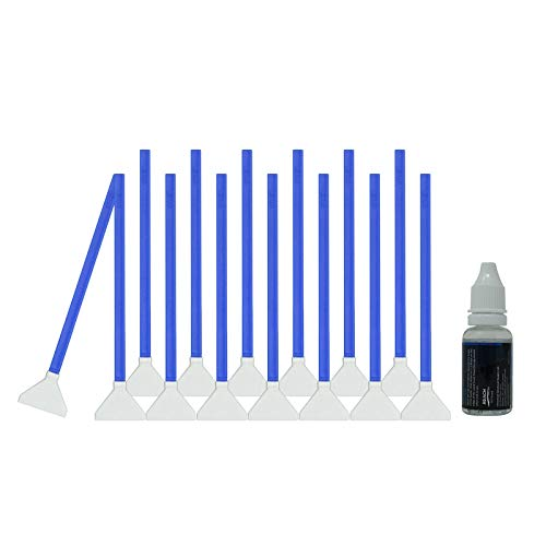 UES Kit de Limpieza Completo de la Sensor de la DSLR cámara Digital (CCD/CMOS) 14 x Torunda 24 mm - Libre de Polvo y envasados al vacío - Limpiador Líquido 15ml