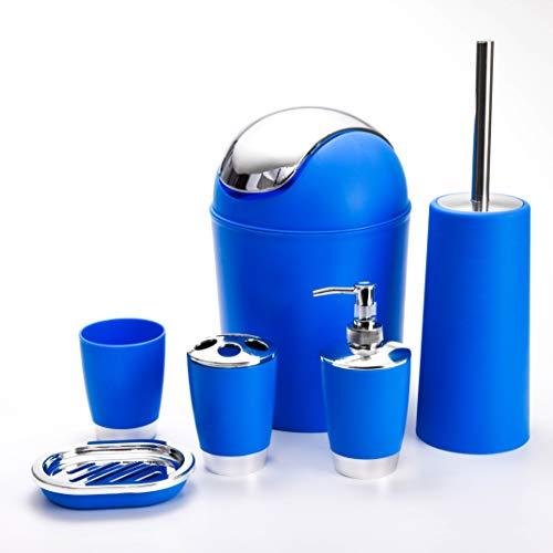 Zuvo 6 Pcs Plastic Bathroom Accessory Set Luxury Bath Accessories Bath Set Lotion Bottles, Toothbrush Holder, Tooth Mug, Soap Dish, Toilet Brush, Trash Can, Rubbish Bin (Royal Blue)