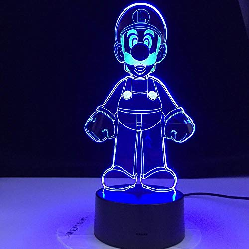 Luces de noche 3D para niños 16 colores de conversión de luz LED 3D luz nocturna Mario Luigi Yoshi 16 colores cambiantes lámpara decoración habitación figura de acción juguete para regalo de Navidad