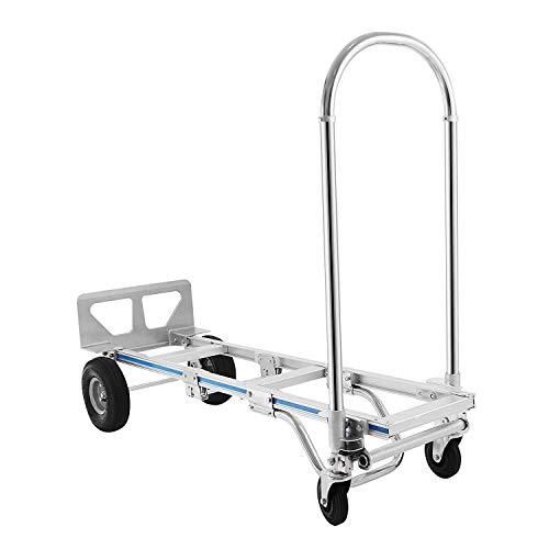 Mophorn 2 in 1 Aluminium Treppenrutsche 400kg Sackkarre klappbar Stapelkarre mit Kunststoff Rädern für Einkaufen Transportieren (400kg)