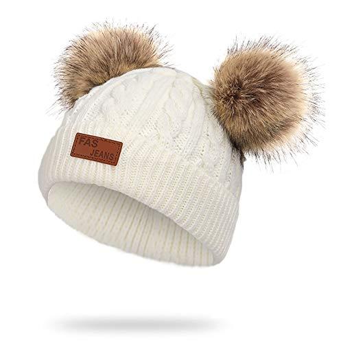 WELROG Bonnet bébé Hiver Chaud Bonnet Enfant en Peluche avec Boules de Poil en Crochet Pom Pom Hat Bébés Garçons Filles (Blanc)