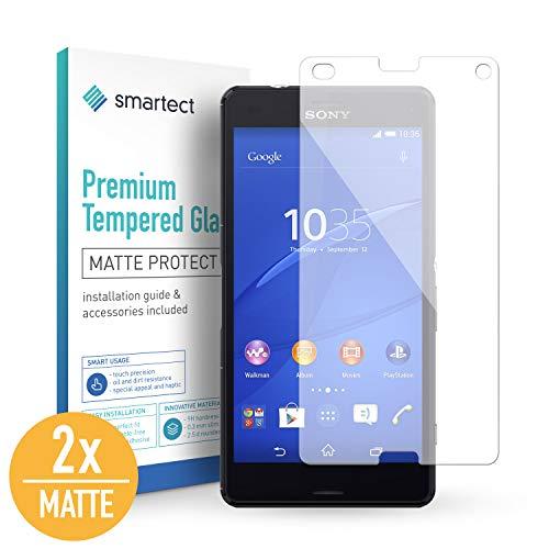 smartect Mattes Panzerglas kompatibel mit Sony Xperia Z3 Compact [2X MATT] - Bildschirmschutz mit 9H Festigkeit - Blasenfreie Schutzfolie - Anti Fingerprint Panzerglasfolie