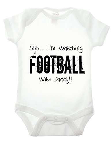 Reality Glitch Shh.I'm Watching Football with Daddy Strampler (Weiß, 0-3 Monate)